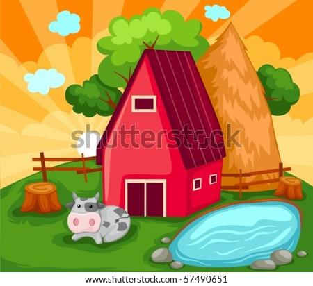 illustration of landscape cartoon farm house - stock vector