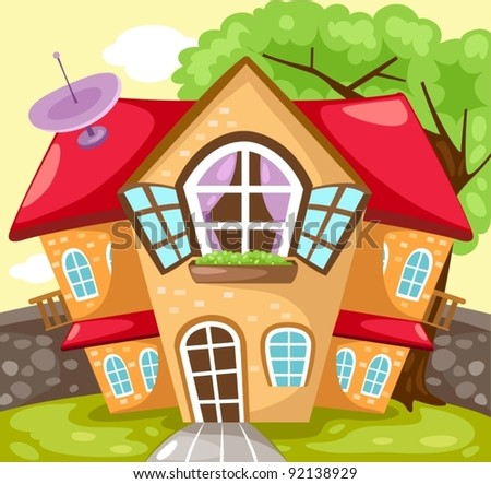 illustration of landscape cartoon house - stock vector