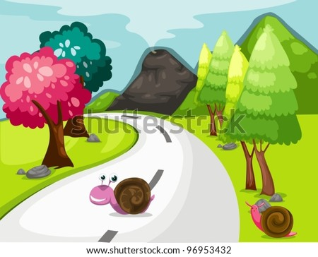 illustration of landscape cartoon snail crossing road - stock vector