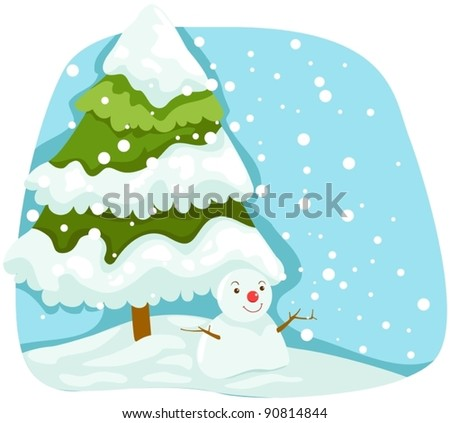 illustration of landscape christmas tree with snowman - stock vector