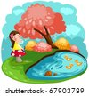 illustration of landscape cute little fairy girl blowing flowers - stock vector