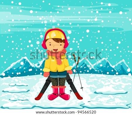 illustration of landscape girl skiing in winter season - stock vector