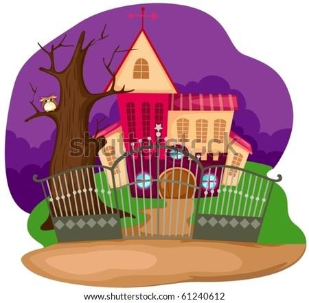 illustration of landscape halloween house - stock vector