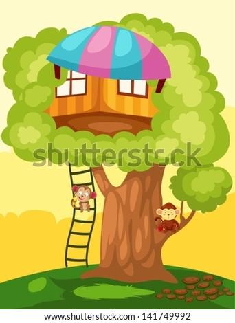 illustration of landscape monkey treehouse - stock vector