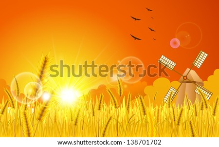 illustration of landscape of golden wheat farm and windmill - stock vector