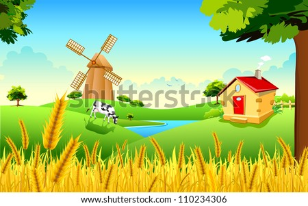 illustration of landscape of golden wheat farm showing green revolution - stock vector
