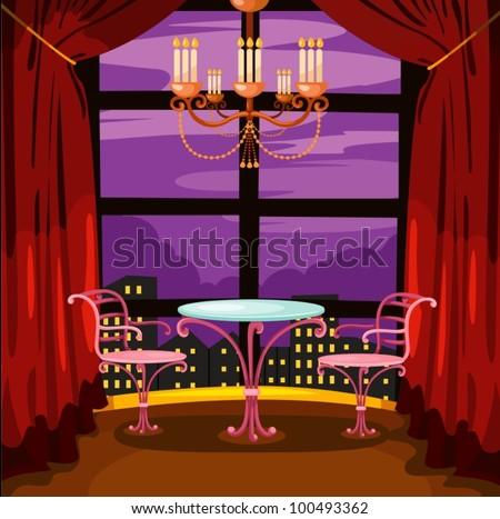 illustration of landscape romantic restaurant - stock vector