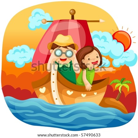 illustration of landscape two kids sailing in the sea - stock vector