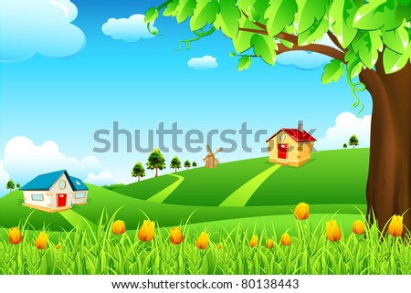 illustration of landscape with flowers and huts