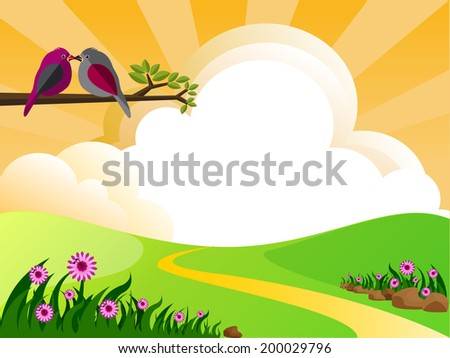 illustration of landscape with flowers clouds and birds