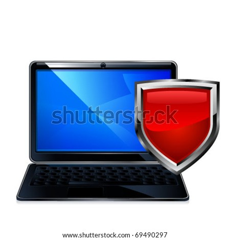 illustration of laptop computer and red shield - stock vector