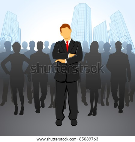 illustration of leader standing in front of corporate crowd - stock vector