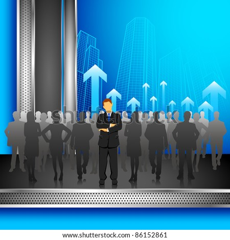 illustration of leader standing in front of crowd on corporate background - stock vector