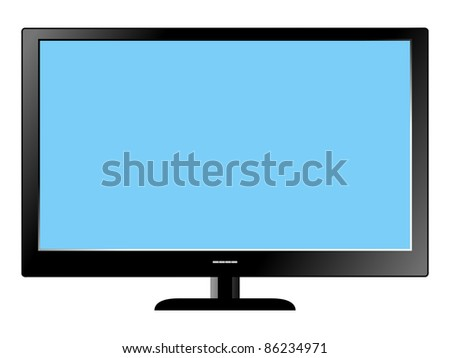 Illustration of Led Television set on white background - stock vector