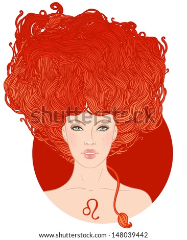 Illustration of leo zodiac sign as a beautiful girl. Vector illustration.  Isolated on white.  - stock vector