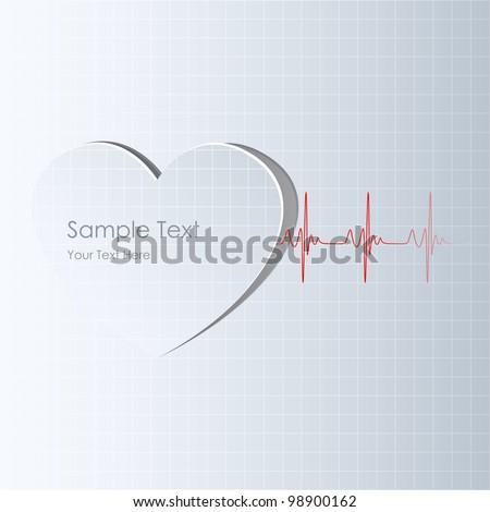 illustration of life line coming out from heart cutout - stock vector
