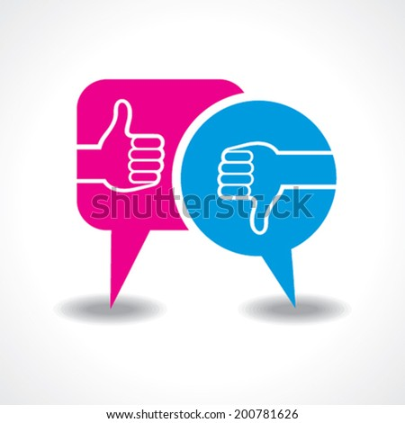 illustration of like and unlike symbol with message bubble - stock vector