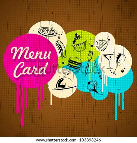 illustration of line art of food on menu design - stock vector
