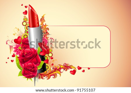 illustration of lipstick with flowers on abstract background - stock vector