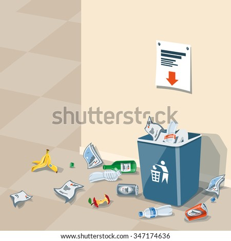 Illustration of littering waste that have been disposed improperly at an inappropriate location around the dust bin near wall in interior. Garbage can is full of trash. Trash is fallen on the ground. - stock vector