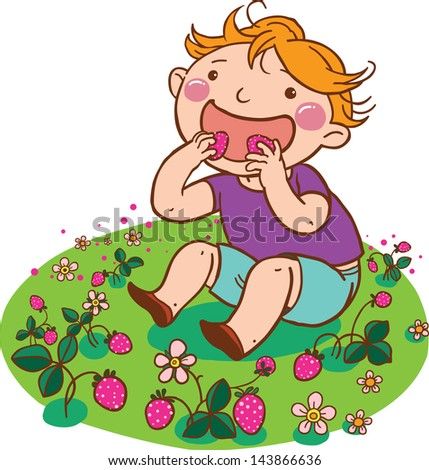 Illustration of Little Boy/Girl picking and eating strawberry isolated on white background. VECTOR. Children illustration for School books and more. Separate Objects. - stock vector