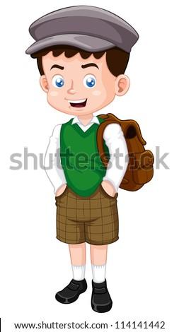 illustration of little boy vector - stock vector
