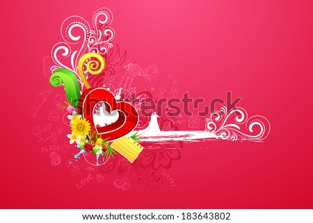 illustration of love couple on abstract valentine background - stock vector