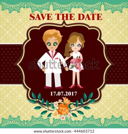 Illustration of lovely sweet couple wedding. - stock vector