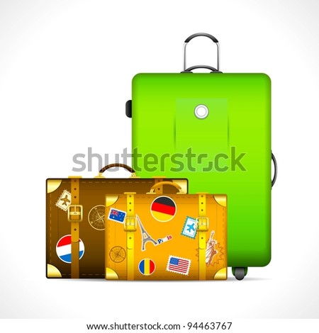 illustration of luggage with different country stamp sticker on them - stock vector