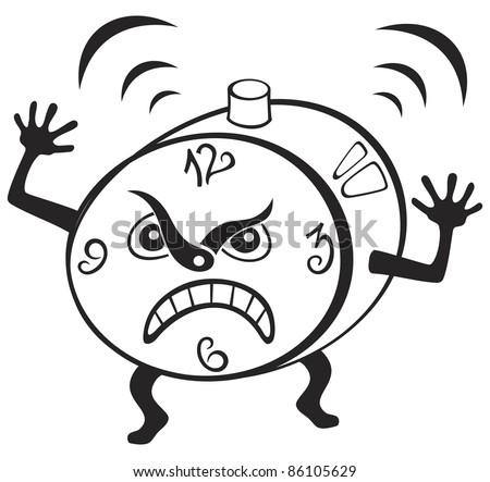 Illustration of mad alarm clock wakening at morning - stock vector