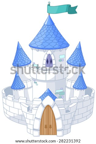 Illustration of magic fairy tale princess castle  - stock vector