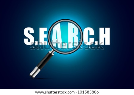 illustration of magnifying glass on search background - stock vector