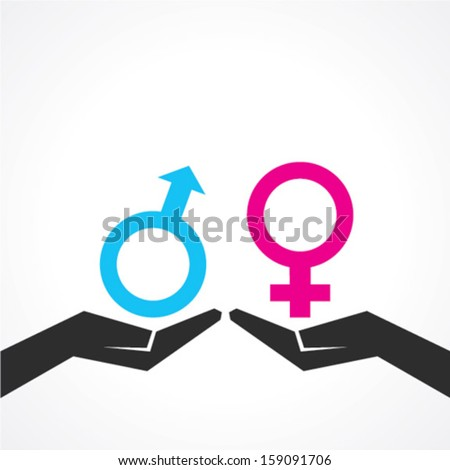 Illustration of male and female icon on hand - stock vector
