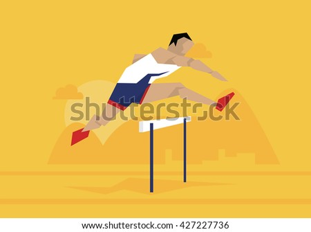 Illustration Of Male Athlete Competing In Hurdles Race - stock vector