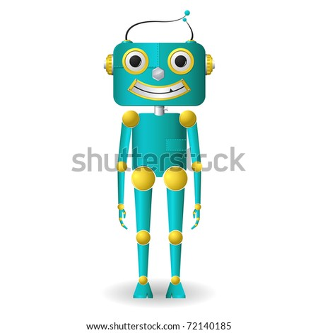 illustration of male robot standing on isolated background - stock vector
