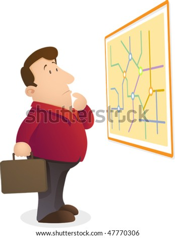 Illustration of man confuse reading a map - stock vector