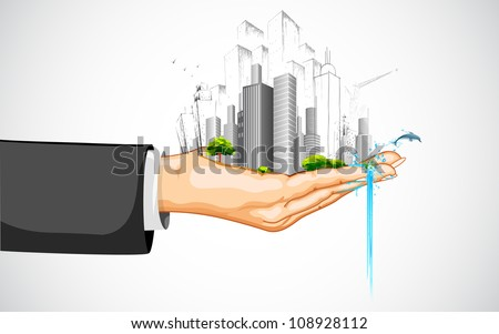 illustration of man holding cityscape with building on palm - stock vector