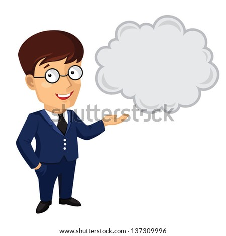 Illustration of man in blue suit and glasses talking - stock vector
