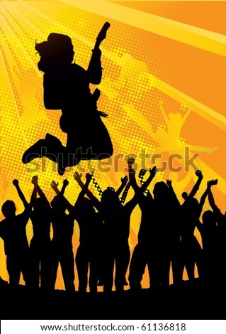 illustration of man jumping over people at a concert