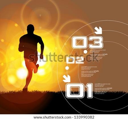 illustration of man running in marathon - stock vector