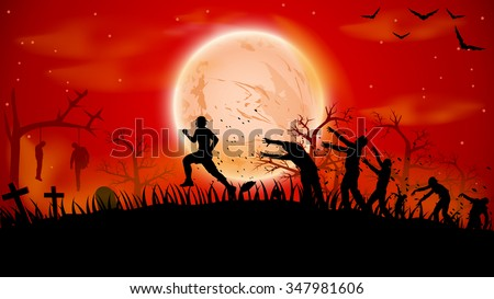 illustration of man ruuning out from crowd zombies near cemetery - stock vector