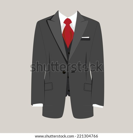 Illustration of  man suit, tie, business suit,  business, man in suit - stock vector