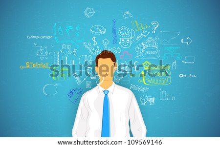 illustration of man thinking of business concept - stock vector