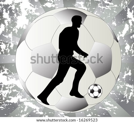 Illustration of man who play football and grunge background