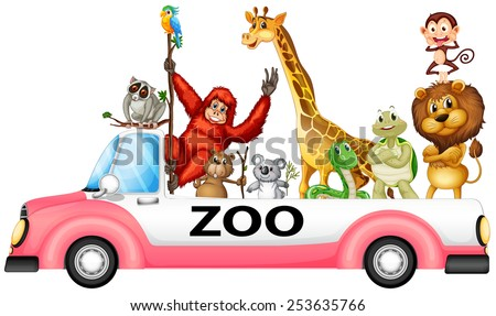 Illustration of many animals on a pick up truck - stock vector