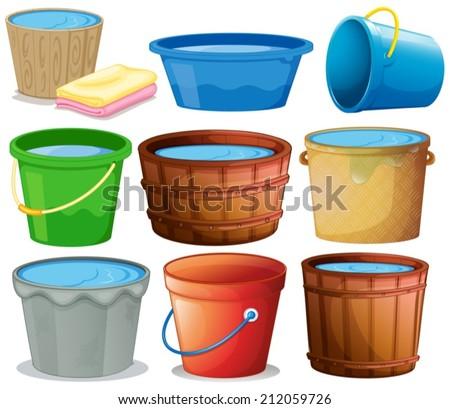 Illustration of many buckets - stock vector