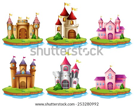 Illustration of many castles on the islands - stock vector