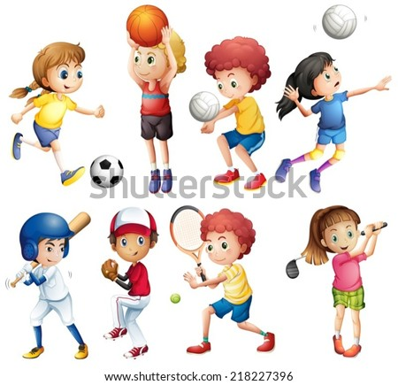 Illustration of many children doing sports - stock vector