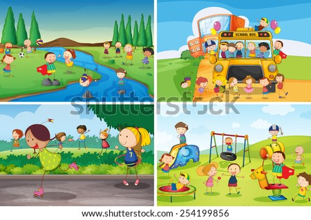 Illustration of many children playing in the park - stock vector