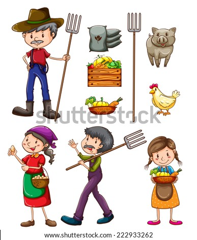 Illustration of many farmers and products - stock vector